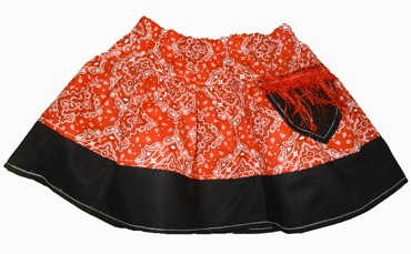 Red Bandana Skirt with pocket and fringe (comes with free blank T-Shirt)