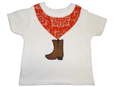 Cowboy Boot T-shirt with Red Bandana