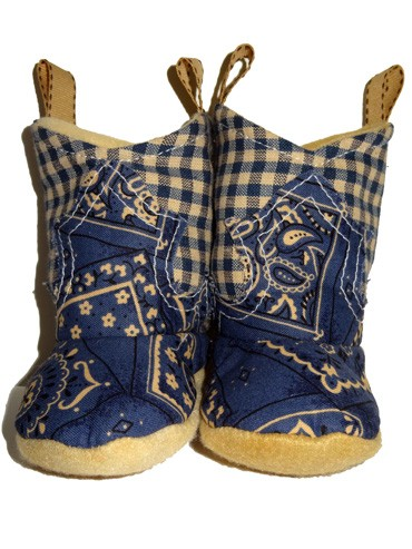 Western Border Soft Cowboy Boots Blue/Gingham
