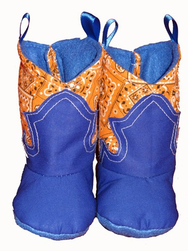 Western Border Soft Cowboy Boots Orange Bandana - Blue