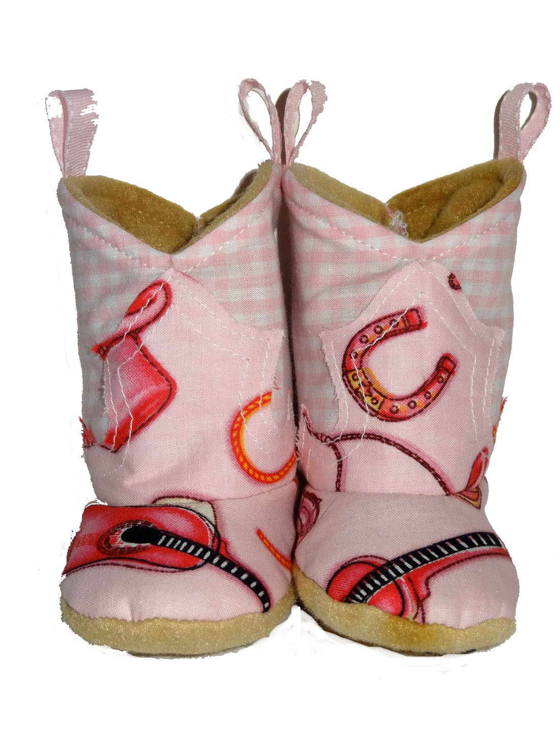 Western Border Soft Cowboy Boots Pink Cowgirl/Gingham