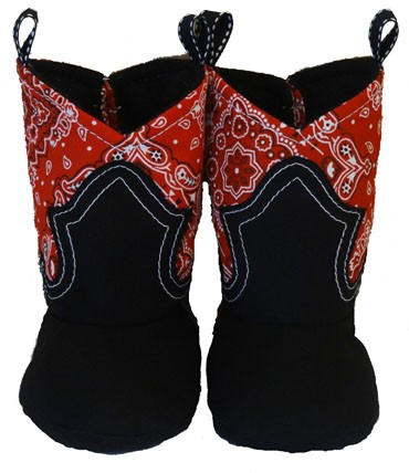 Western Border Soft Cowboy Boots Red Bandana - Black