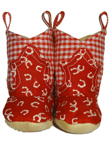 Western Border Soft Cowboy Boots Red/Gingham - Horseshoe Fabric