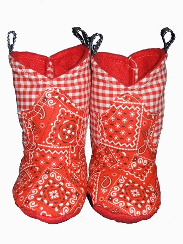 Western Border Soft Cowboy Boots Red Bandana - Gingham