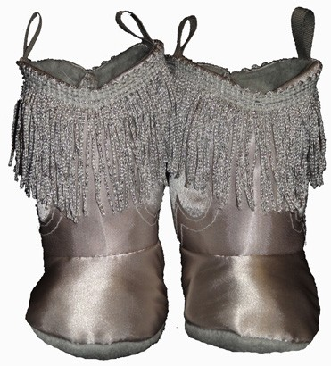 Western Border Soft Cowboy Boots Silver with Fringe